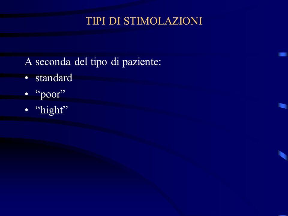 TIPI DI STIMOLAZIONI A seconda del tipo di paziente: standard poor hight