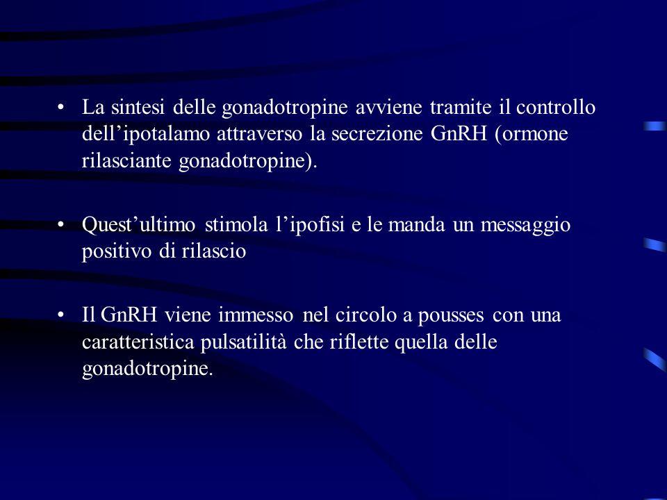 La sintesi delle gonadotropine avviene tramite il controllo dellipotalamo attraverso la secrezione GnRH (ormone rilasciante gonadotropine). Questultim