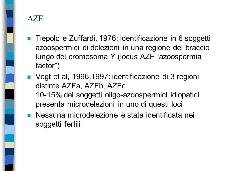 AZF n Tiepolo e Zuffardi, 1976: identificazione in 6 soggetti azoospermici di delezioni in una regione del braccio lungo del cromosoma Y (locus AZF az