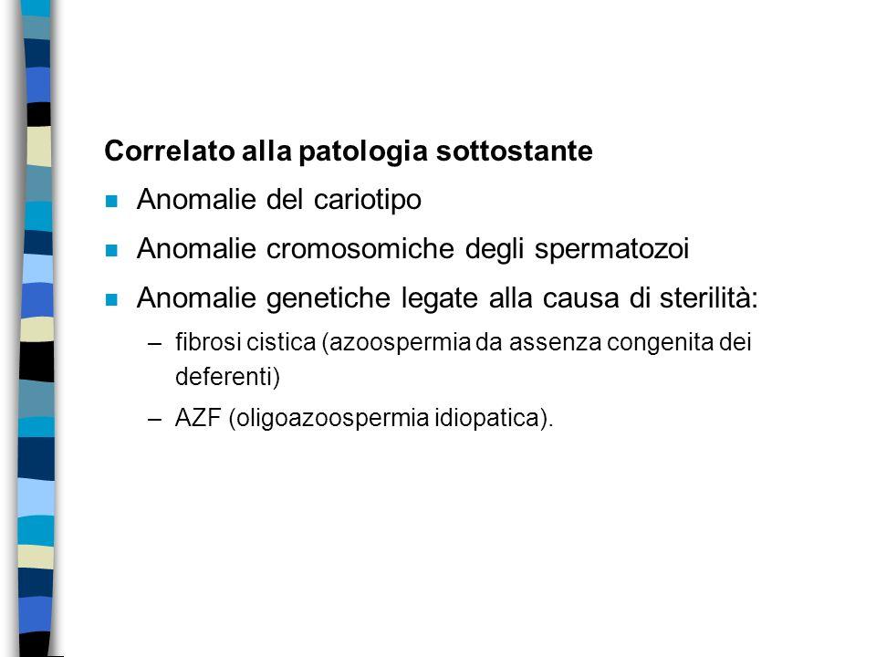Correlato alla patologia sottostante n Anomalie del cariotipo n Anomalie cromosomiche degli spermatozoi n Anomalie genetiche legate alla causa di ster