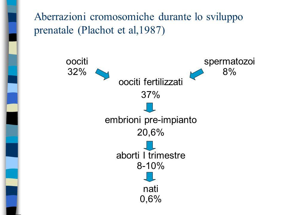 Aberrazioni cromosomiche durante lo sviluppo prenatale (Plachot et al,1987) oocitispermatozoi 32%8% oociti fertilizzati 37% embrioni pre-impianto 20,6