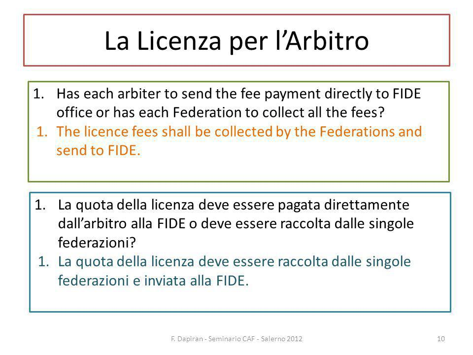 La Licenza per lArbitro F. Dapiran - Seminario CAF - Salerno 201210 1.Has each arbiter to send the fee payment directly to FIDE office or has each Fed