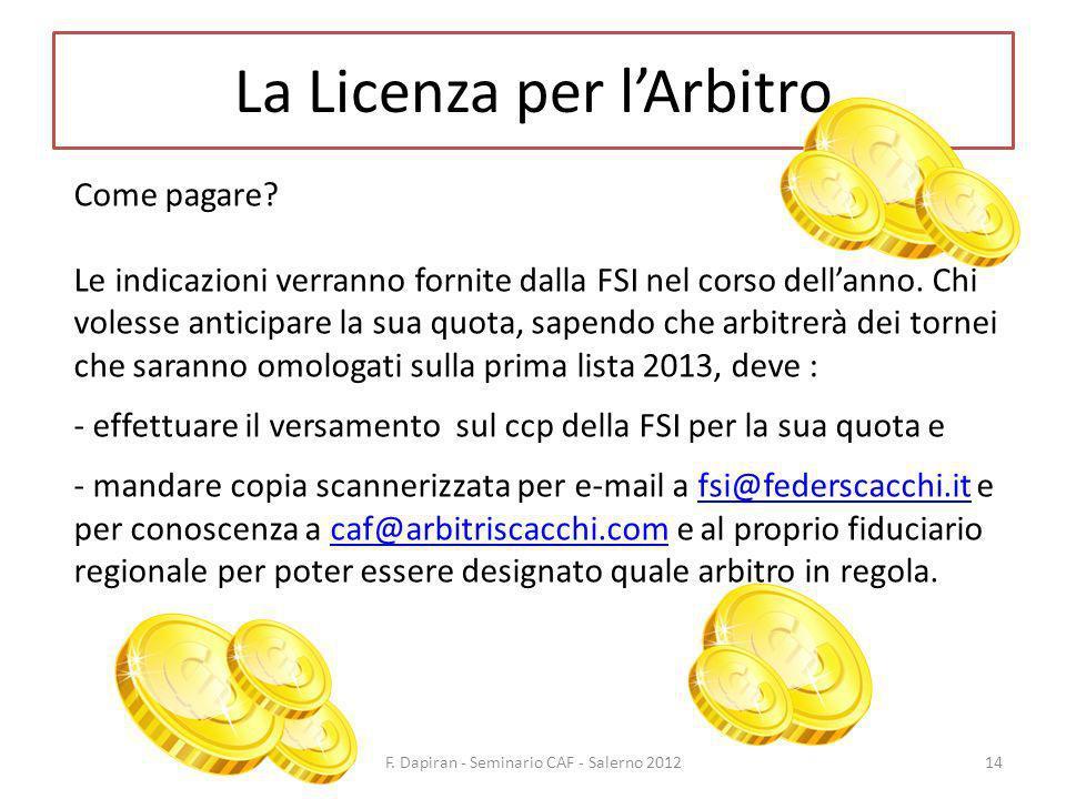 La Licenza per lArbitro F. Dapiran - Seminario CAF - Salerno 201214 Come pagare.