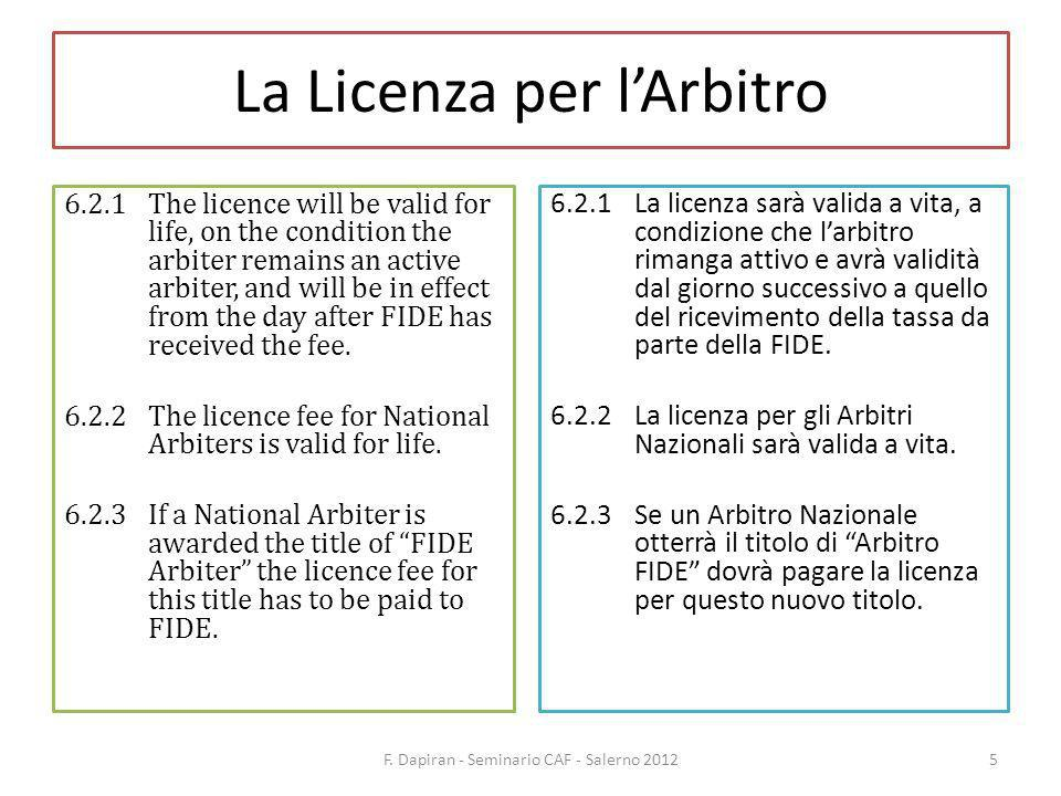 La Licenza per lArbitro 6.2.4If an arbiter upgrades his/her category only the difference between the category fee has to be paid to FIDE.