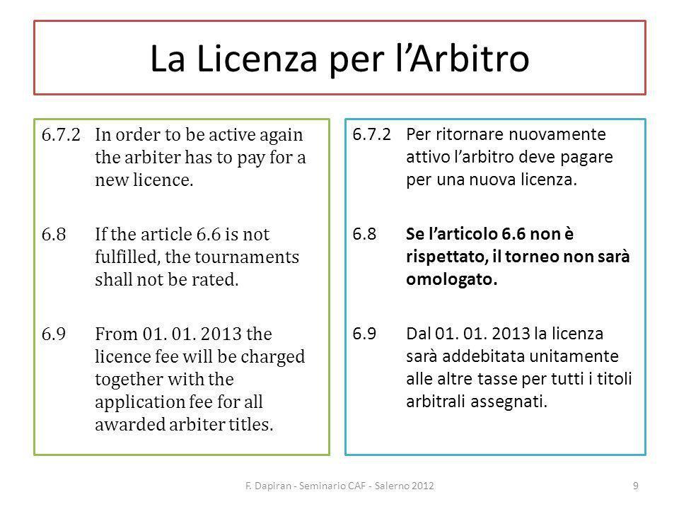 La Licenza per lArbitro F.