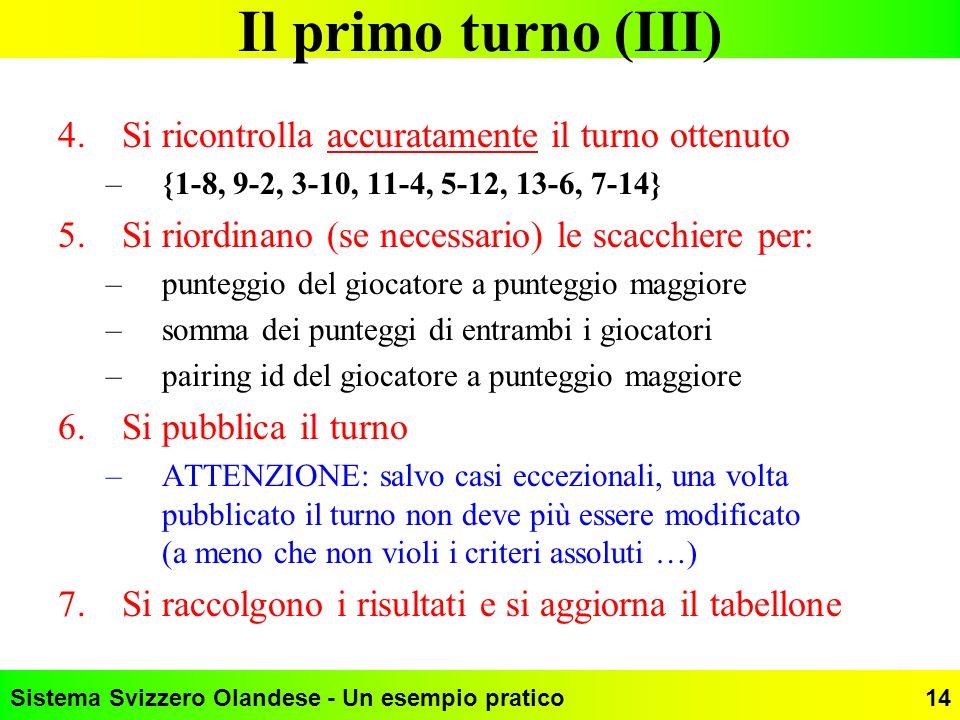 Sistema Svizzero Olandese - Un esempio pratico14 Il primo turno (III) 4.Si ricontrolla accuratamente il turno ottenuto –{1-8, 9-2, 3-10, 11-4, 5-12, 1