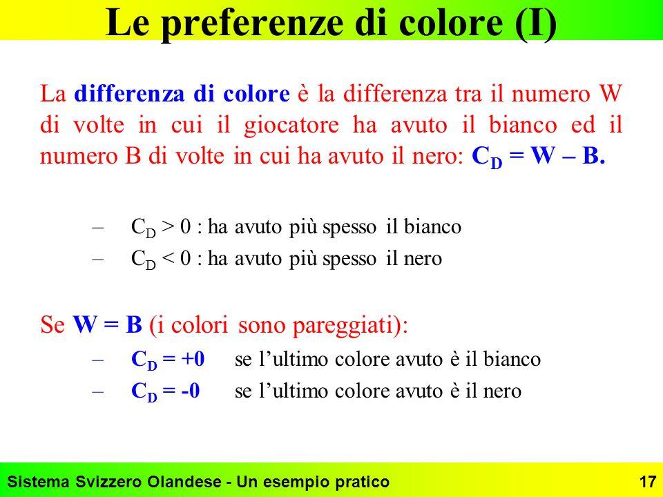 Sistema Svizzero Olandese - Un esempio pratico17 Le preferenze di colore (I) La differenza di colore è la differenza tra il numero W di volte in cui i