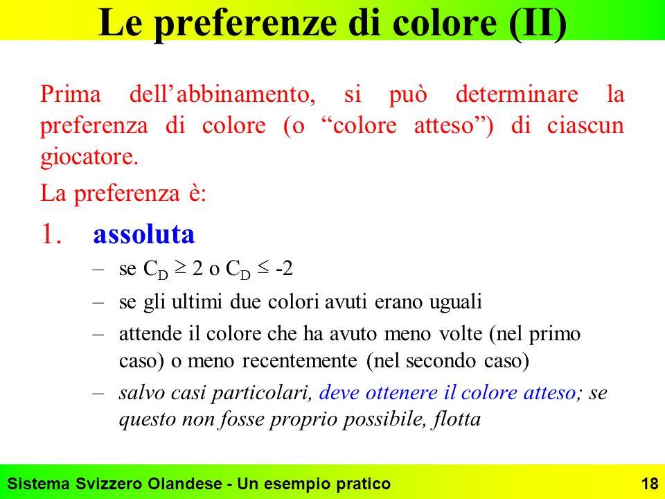 Sistema Svizzero Olandese - Un esempio pratico18 Le preferenze di colore (II) Prima dellabbinamento, si può determinare la preferenza di colore (o col