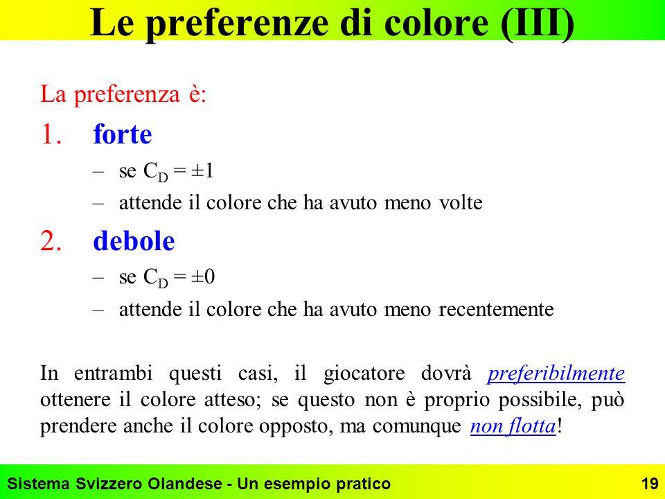 Sistema Svizzero Olandese - Un esempio pratico19 Le preferenze di colore (III) La preferenza è: 1.forte –se C D = ±1 –attende il colore che ha avuto m