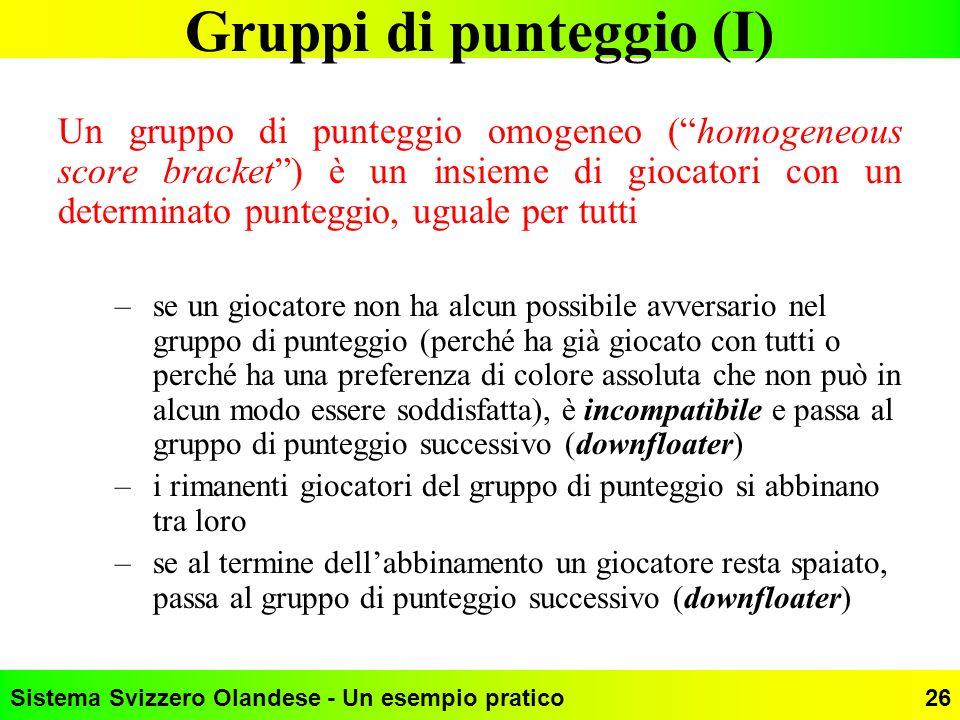 Sistema Svizzero Olandese - Un esempio pratico26 Gruppi di punteggio (I) Un gruppo di punteggio omogeneo (homogeneous score bracket) è un insieme di g