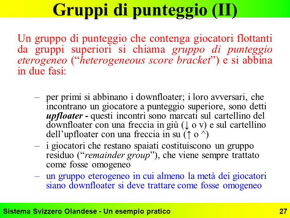 Sistema Svizzero Olandese - Un esempio pratico27 Gruppi di punteggio (II) Un gruppo di punteggio che contenga giocatori flottanti da gruppi superiori