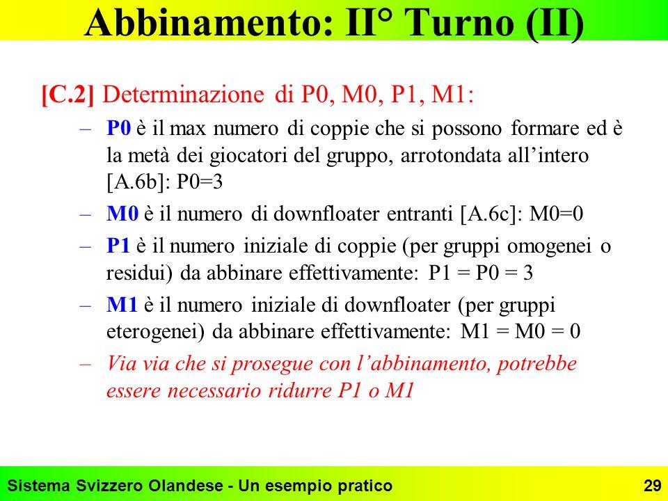Sistema Svizzero Olandese - Un esempio pratico29 Abbinamento: II° Turno (II) [C.2] Determinazione di P0, M0, P1, M1: –P0 è il max numero di coppie che