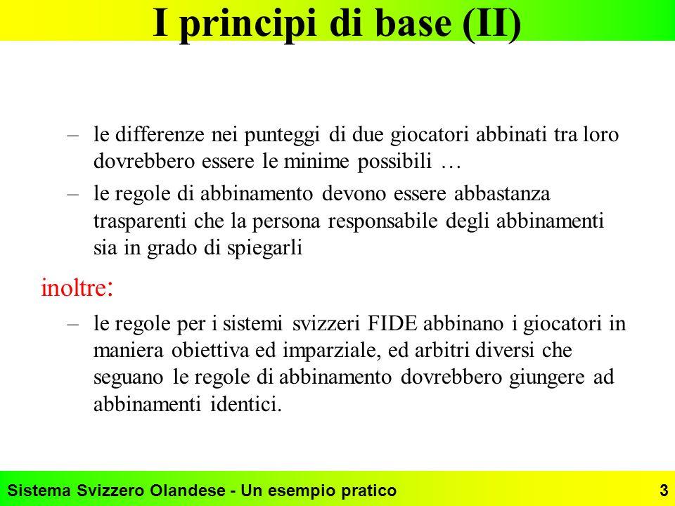 Sistema Svizzero Olandese - Un esempio pratico3 I principi di base (II) –le differenze nei punteggi di due giocatori abbinati tra loro dovrebbero esse