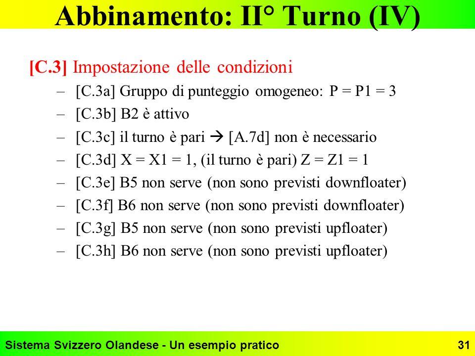 Sistema Svizzero Olandese - Un esempio pratico31 Abbinamento: II° Turno (IV) [C.3] Impostazione delle condizioni –[C.3a] Gruppo di punteggio omogeneo: