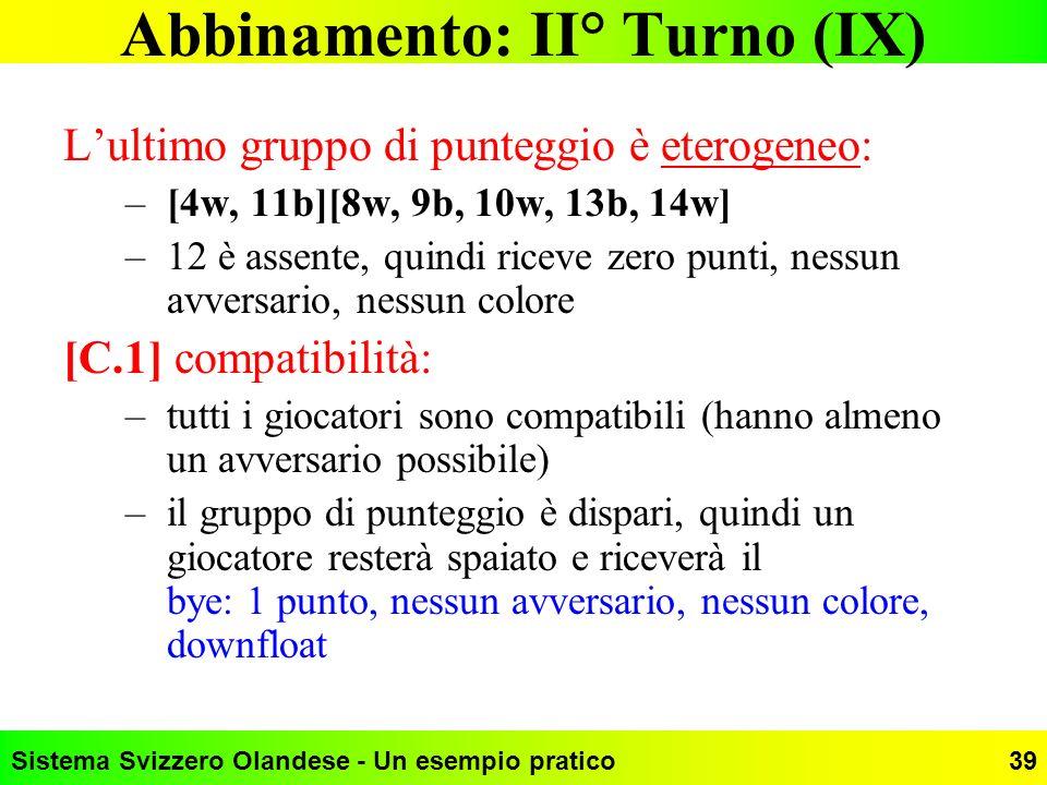 Sistema Svizzero Olandese - Un esempio pratico39 Abbinamento: II° Turno (IX) Lultimo gruppo di punteggio è eterogeneo: –[4w, 11b][8w, 9b, 10w, 13b, 14
