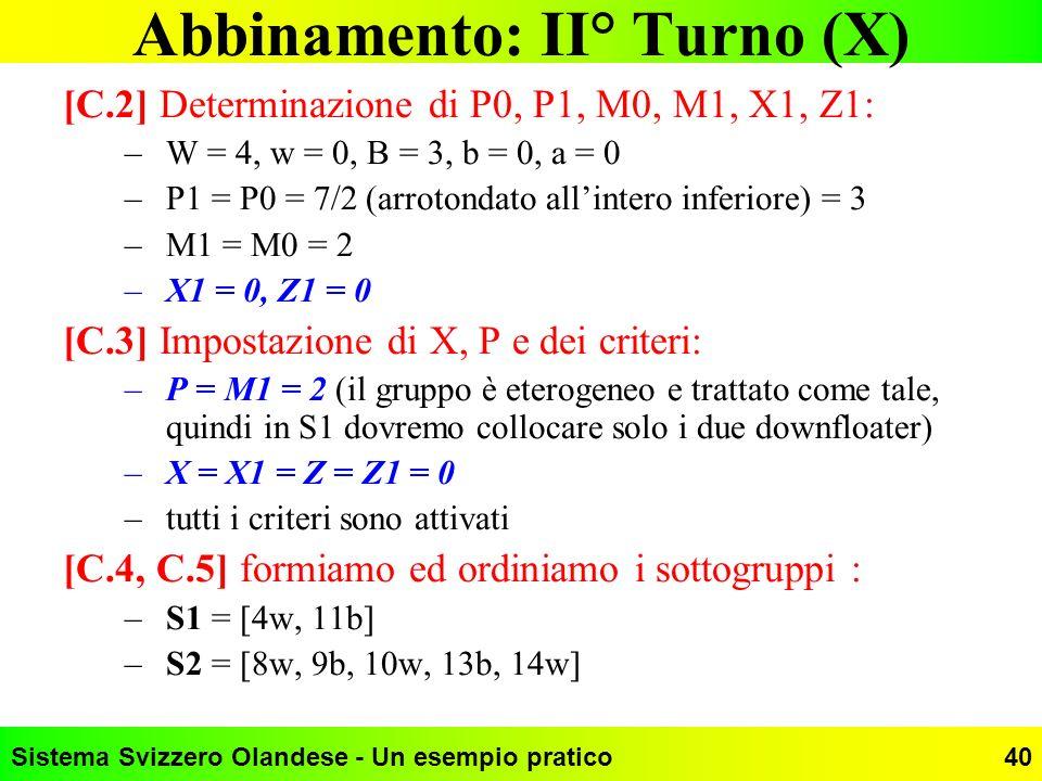 Sistema Svizzero Olandese - Un esempio pratico40 Abbinamento: II° Turno (X) [C.2] Determinazione di P0, P1, M0, M1, X1, Z1: –W = 4, w = 0, B = 3, b =