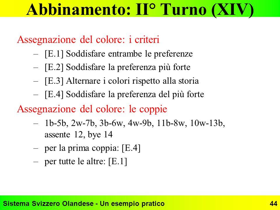 Sistema Svizzero Olandese - Un esempio pratico44 Abbinamento: II° Turno (XIV) Assegnazione del colore: i criteri –[E.1] Soddisfare entrambe le prefere