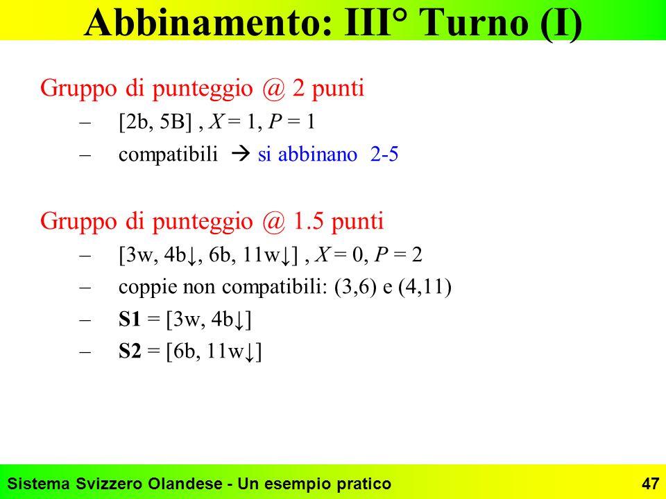 Sistema Svizzero Olandese - Un esempio pratico47 Abbinamento: III° Turno (I) Gruppo di punteggio @ 2 punti –[2b, 5B], X = 1, P = 1 –compatibili si abb