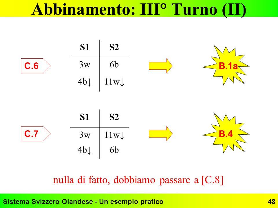 Sistema Svizzero Olandese - Un esempio pratico48 Abbinamento: III° Turno (II) S1S2 3w6b 4b11w S1S2 3w11w 4b6b C.6 B.1a C.7 B.4 nulla di fatto, dobbiam