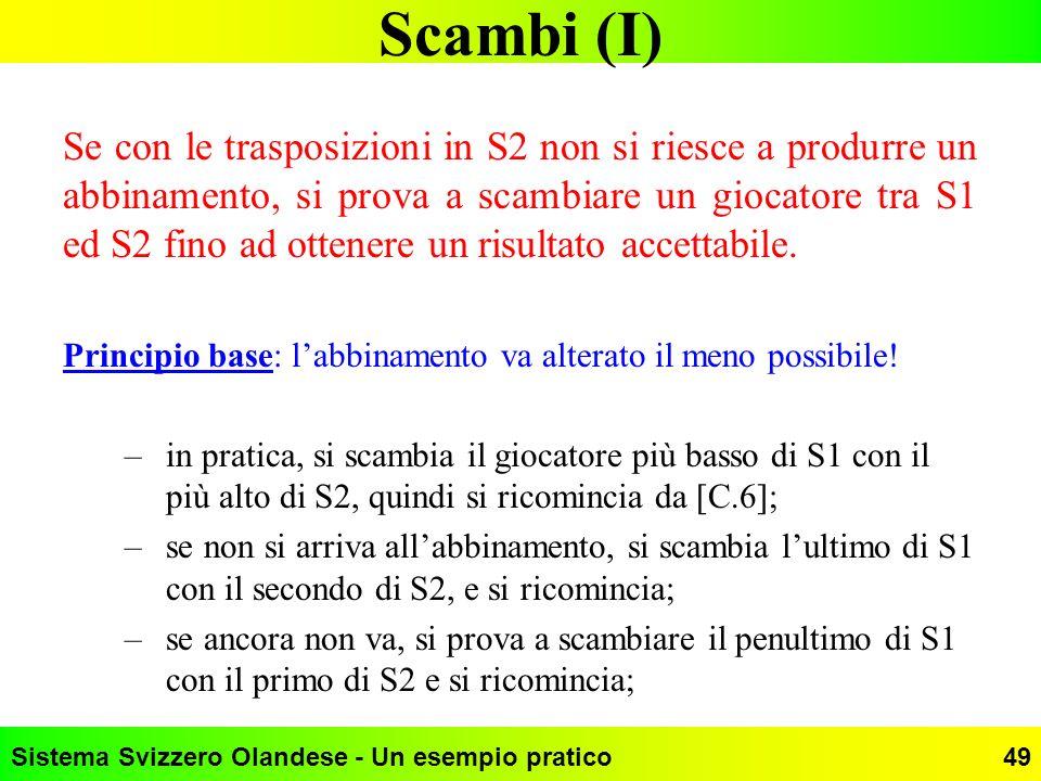Sistema Svizzero Olandese - Un esempio pratico49 Scambi (I) Se con le trasposizioni in S2 non si riesce a produrre un abbinamento, si prova a scambiar