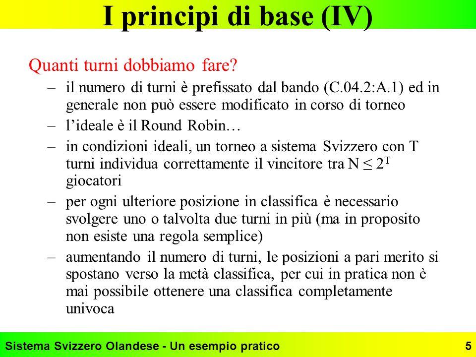Sistema Svizzero Olandese - Un esempio pratico5 I principi di base (IV) Quanti turni dobbiamo fare? –il numero di turni è prefissato dal bando (C.04.2