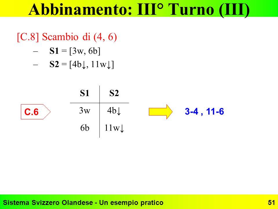 Sistema Svizzero Olandese - Un esempio pratico51 Abbinamento: III° Turno (III) [C.8] Scambio di (4, 6) –S1 = [3w, 6b] –S2 = [4b, 11w] S1S2 3w4b 6b11w