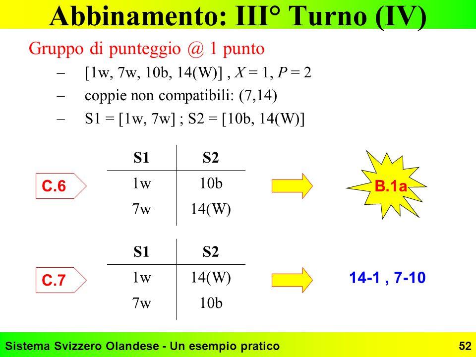 Sistema Svizzero Olandese - Un esempio pratico52 Abbinamento: III° Turno (IV) Gruppo di punteggio @ 1 punto –[1w, 7w, 10b, 14(W)], X = 1, P = 2 –coppi