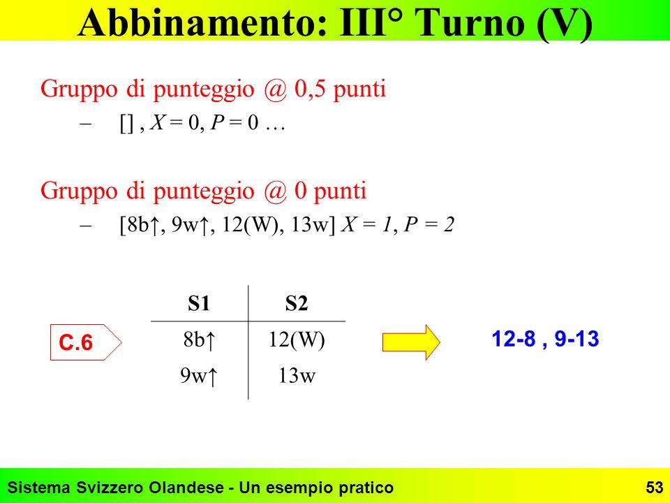 Sistema Svizzero Olandese - Un esempio pratico53 Abbinamento: III° Turno (V) Gruppo di punteggio @ 0,5 punti –[], X = 0, P = 0 … Gruppo di punteggio @