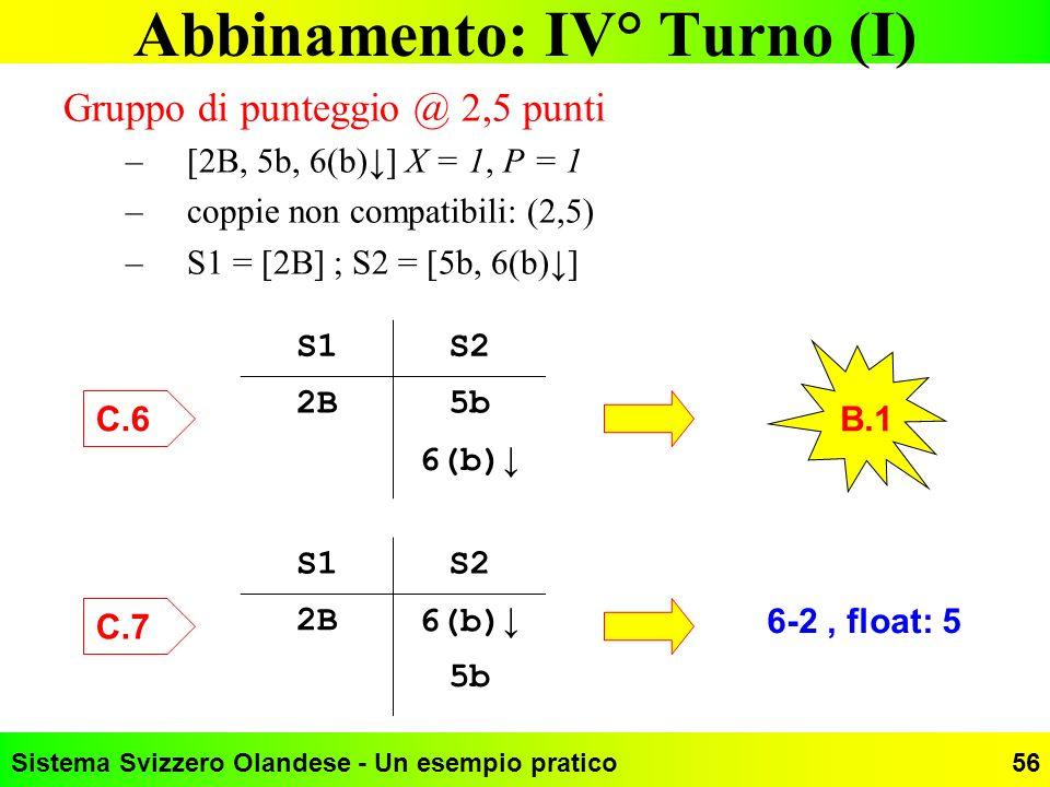 Sistema Svizzero Olandese - Un esempio pratico56 Abbinamento: IV° Turno (I) Gruppo di punteggio @ 2,5 punti –[2B, 5b, 6(b)] X = 1, P = 1 –coppie non c