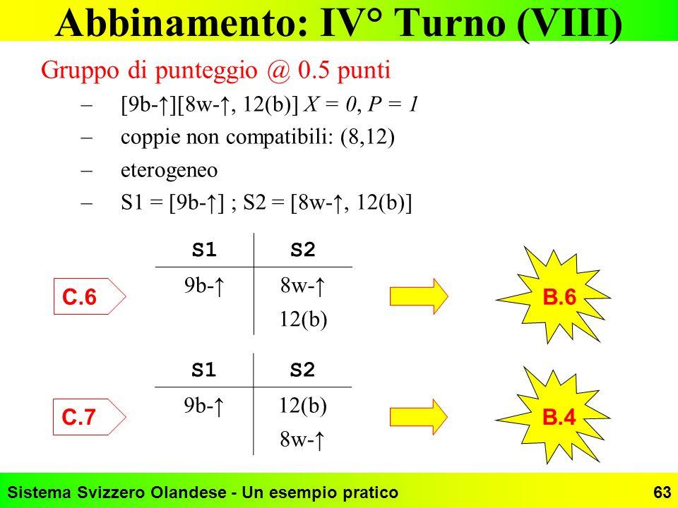 Sistema Svizzero Olandese - Un esempio pratico63 Abbinamento: IV° Turno (VIII) Gruppo di punteggio @ 0.5 punti –[9b-][8w-, 12(b)] X = 0, P = 1 –coppie