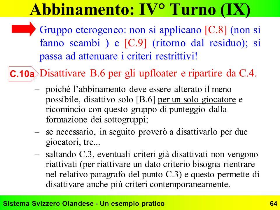 Sistema Svizzero Olandese - Un esempio pratico64 Abbinamento: IV° Turno (IX) –poiché labbinamento deve essere alterato il meno possibile, disattivo so