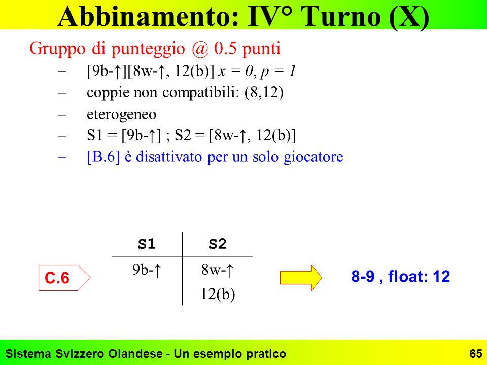 Sistema Svizzero Olandese - Un esempio pratico65 Abbinamento: IV° Turno (X) Gruppo di punteggio @ 0.5 punti –[9b-][8w-, 12(b)] x = 0, p = 1 –coppie no