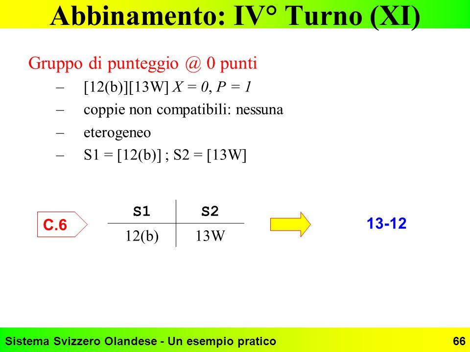 Sistema Svizzero Olandese - Un esempio pratico66 Abbinamento: IV° Turno (XI) Gruppo di punteggio @ 0 punti –[12(b)][13W] X = 0, P = 1 –coppie non comp