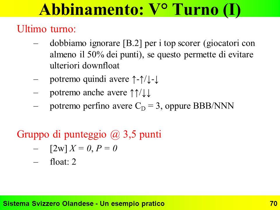 Sistema Svizzero Olandese - Un esempio pratico70 Abbinamento: V° Turno (I) Ultimo turno: –dobbiamo ignorare [B.2] per i top scorer (giocatori con alme