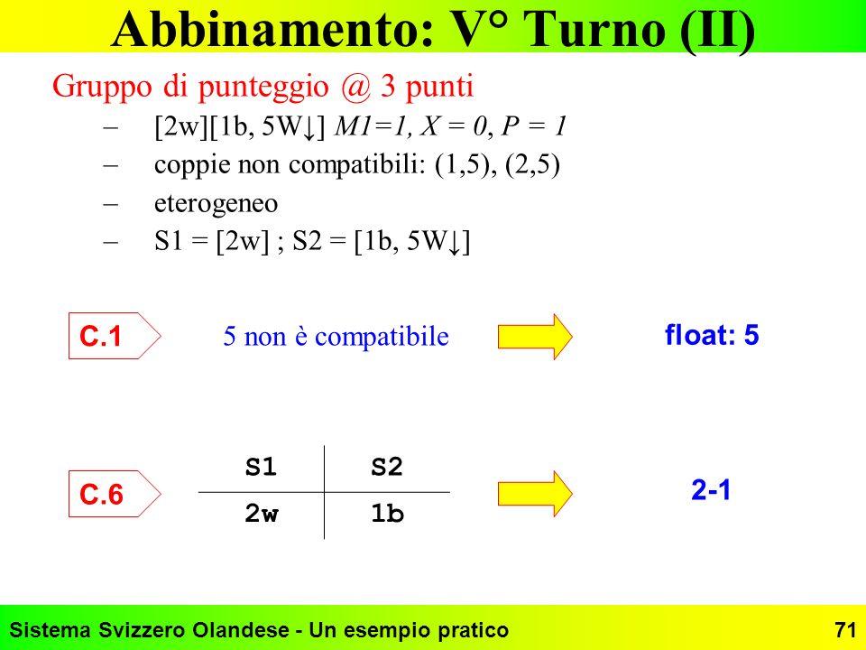 Sistema Svizzero Olandese - Un esempio pratico71 Abbinamento: V° Turno (II) Gruppo di punteggio @ 3 punti –[2w][1b, 5W] M1=1, X = 0, P = 1 –coppie non