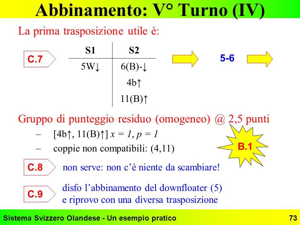 Sistema Svizzero Olandese - Un esempio pratico73 Abbinamento: V° Turno (IV) La prima trasposizione utile è: S1S2 5W6(B)- 4b 11(B) C.7 B.1 5-6 Gruppo d