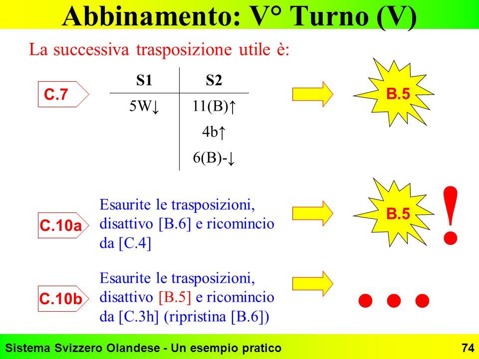 Sistema Svizzero Olandese - Un esempio pratico74 Abbinamento: V° Turno (V) La successiva trasposizione utile è: S1S2 5W11(B) 4b 6(B)- C.7 B.5 Esaurite