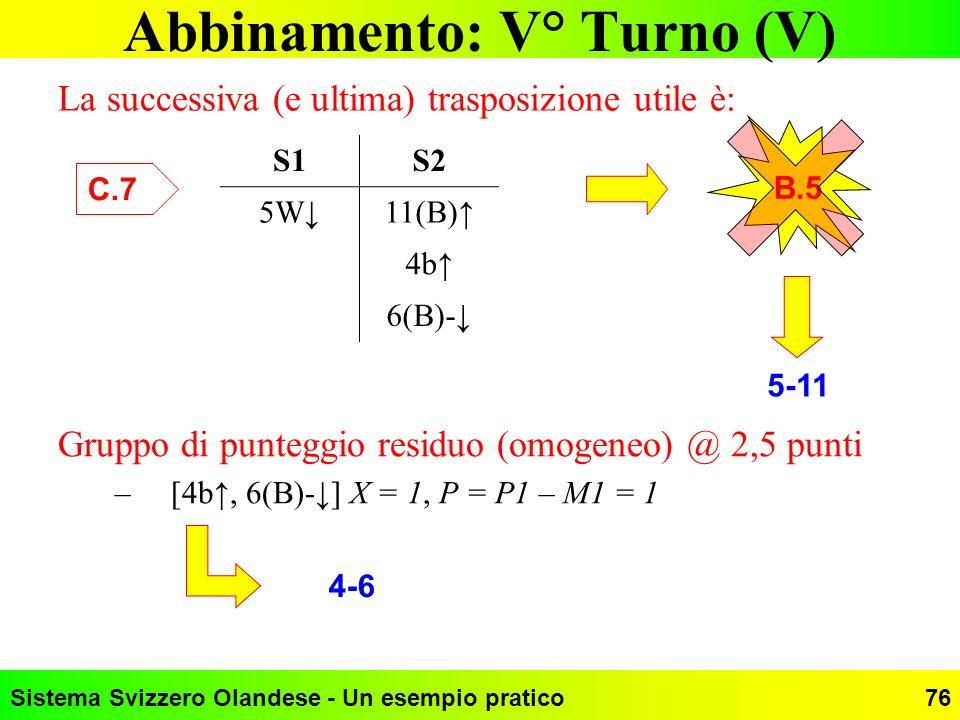 Sistema Svizzero Olandese - Un esempio pratico76 Abbinamento: V° Turno (V) La successiva (e ultima) trasposizione utile è: S1S2 5W11(B) 4b 6(B)- C.7 B