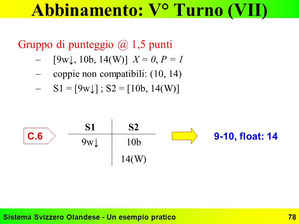 Sistema Svizzero Olandese - Un esempio pratico78 Abbinamento: V° Turno (VII) Gruppo di punteggio @ 1,5 punti –[9w, 10b, 14(W)] X = 0, P = 1 –coppie no