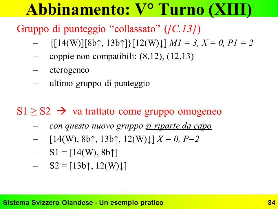 Sistema Svizzero Olandese - Un esempio pratico84 Abbinamento: V° Turno (XIII) Gruppo di punteggio collassato ([C.13]) –{[14(W)][8b, 13b]}[12(W)] M1 =