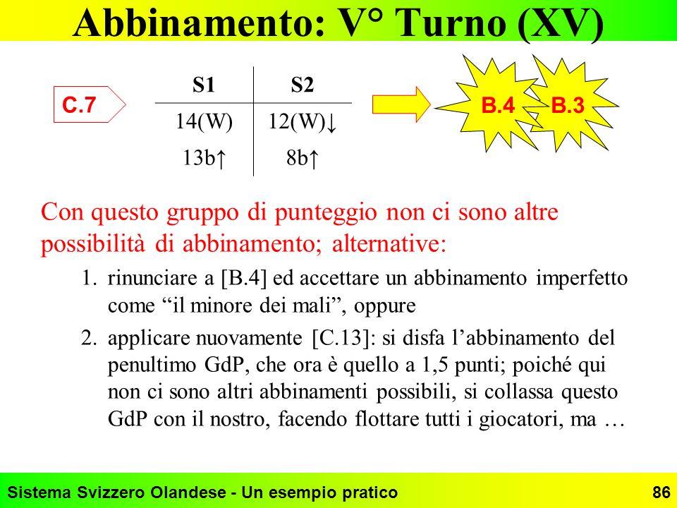 Sistema Svizzero Olandese - Un esempio pratico86 Abbinamento: V° Turno (XV) C.7 B.3 S1S2 14(W)12(W) 13b8b B.4 Con questo gruppo di punteggio non ci so