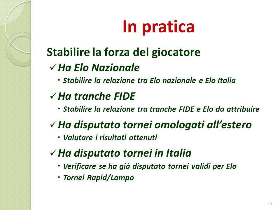 In pratica Stabilire la forza del giocatore Ha Elo Nazionale Stabilire la relazione tra Elo nazionale e Elo Italia Ha tranche FIDE Stabilire la relazi