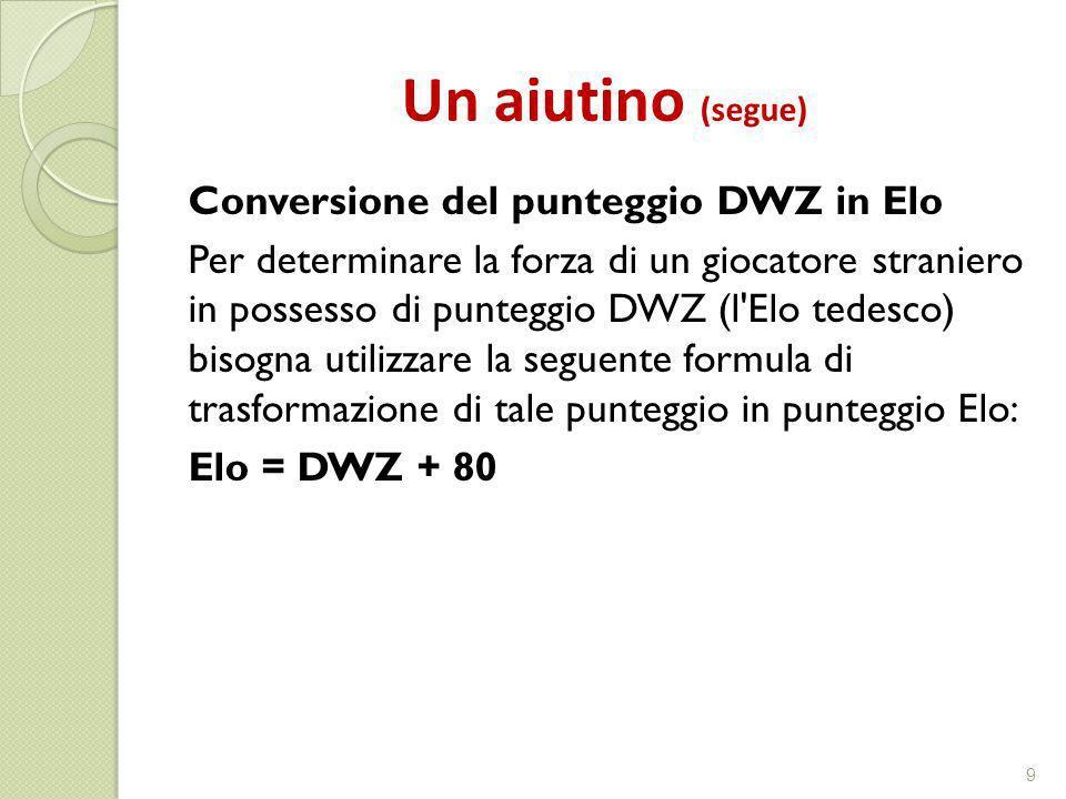Un aiutino (segue) Conversione del punteggio DWZ in Elo Per determinare la forza di un giocatore straniero in possesso di punteggio DWZ (l'Elo tedesco