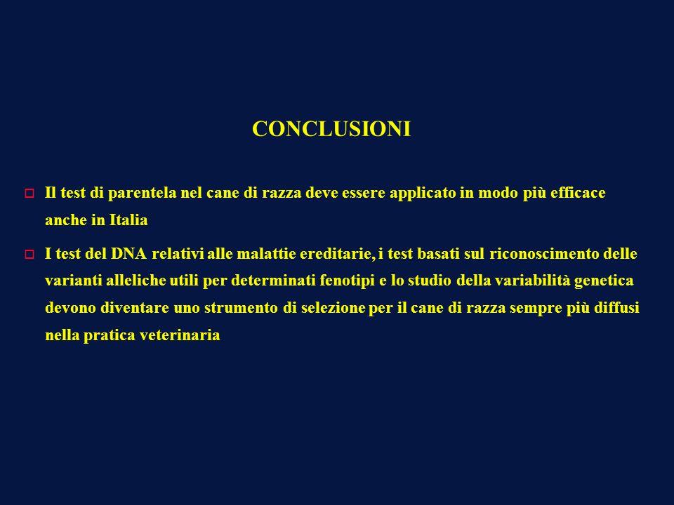 CONCLUSIONI o Il test di parentela nel cane di razza deve essere applicato in modo più efficace anche in Italia o I test del DNA relativi alle malatti
