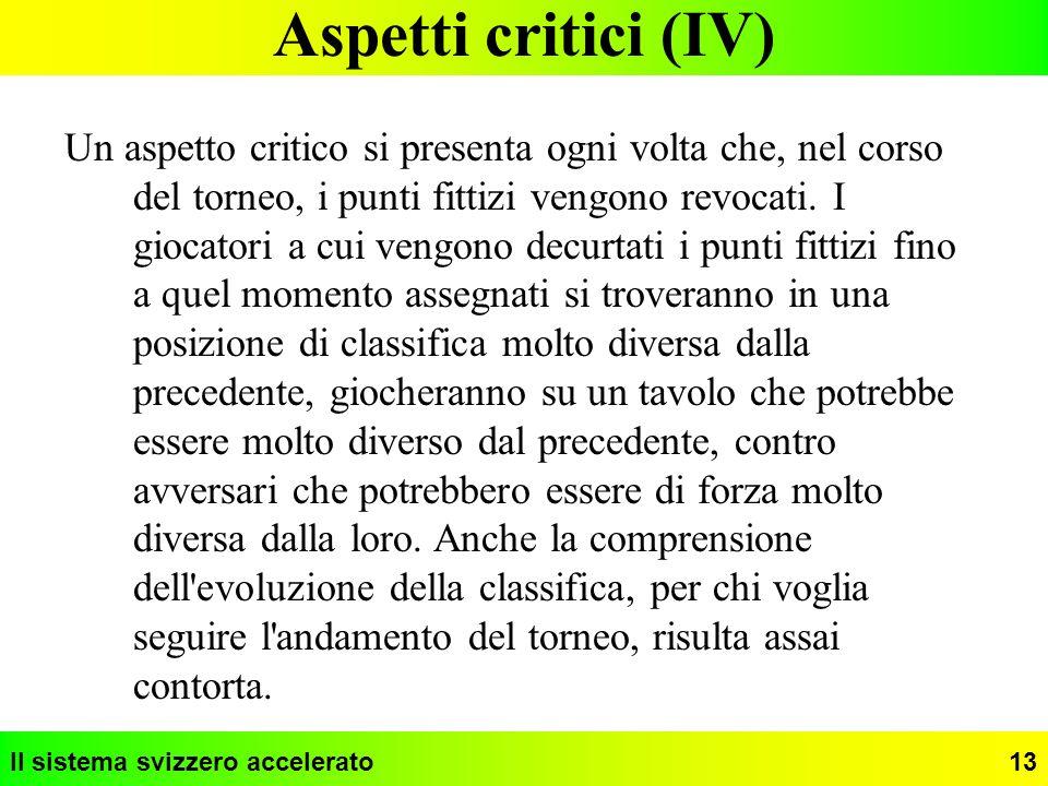 Il sistema svizzero accelerato13 Aspetti critici (IV) Un aspetto critico si presenta ogni volta che, nel corso del torneo, i punti fittizi vengono rev