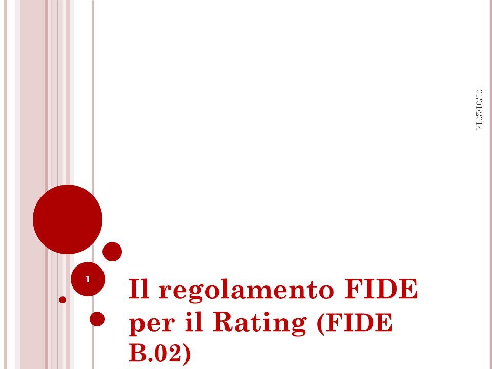 Il regolamento FIDE per il Rating (FIDE B.02) 1 01/01/2014
