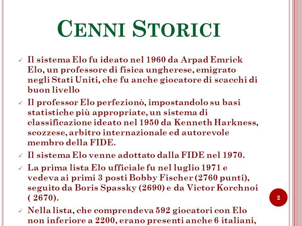 C ENNI S TORICI Il sistema Elo fu ideato nel 1960 da Arpad Emrick Elo, un professore di fisica ungherese, emigrato negli Stati Uniti, che fu anche gio