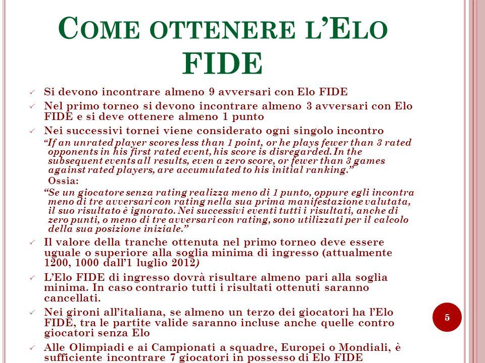 C OME OTTENERE L E LO FIDE Si devono incontrare almeno 9 avversari con Elo FIDE Nel primo torneo si devono incontrare almeno 3 avversari con Elo FIDE