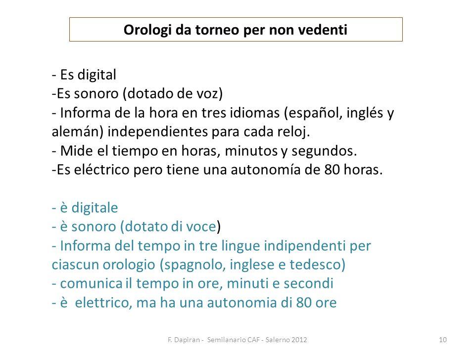 F. Dapiran - Semilanario CAF - Salerno 201210 Orologi da torneo per non vedenti - Es digital -Es sonoro (dotado de voz) - Informa de la hora en tres i