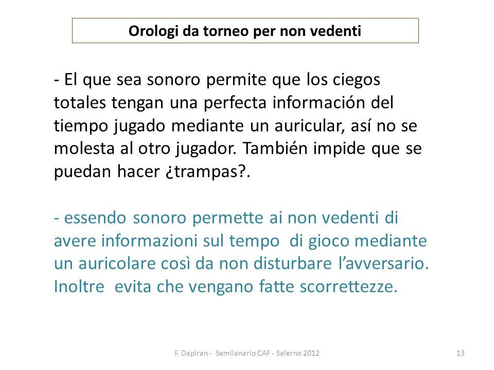 F. Dapiran - Semilanario CAF - Salerno 201213 Orologi da torneo per non vedenti - El que sea sonoro permite que los ciegos totales tengan una perfecta